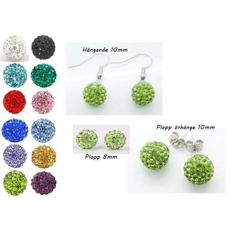 Shamballa örhängen  Green Crystal