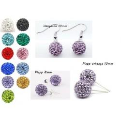 Shamballa örhängen  Purple Crystal