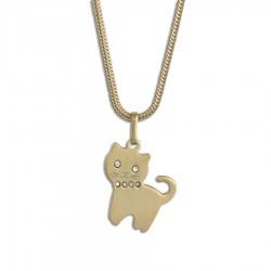 Stålhalsband Cat i guld-doublé