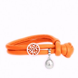 Läderarmband  Orange Candy